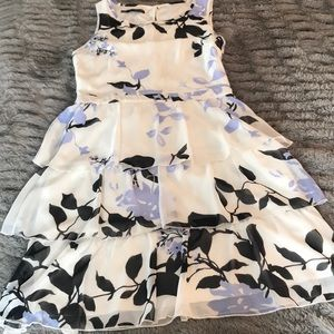 Floral ruffle dress M black buttons blue ivory NEW
